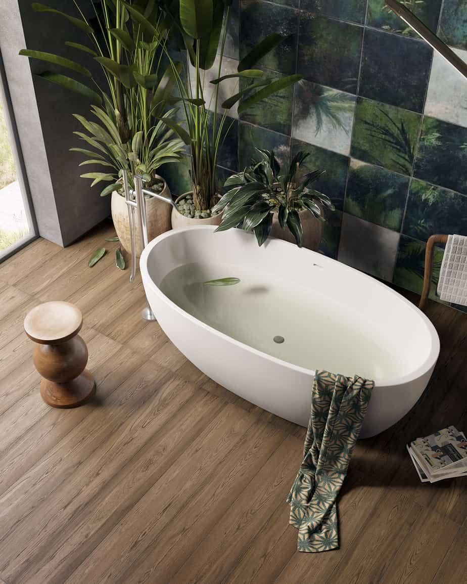 bathroom decor 2021 natural plants and materials