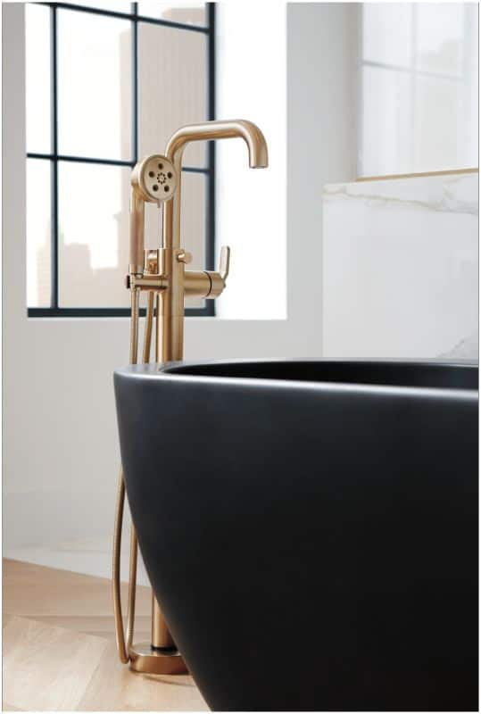 bathroom design 2021 soft gold faucet