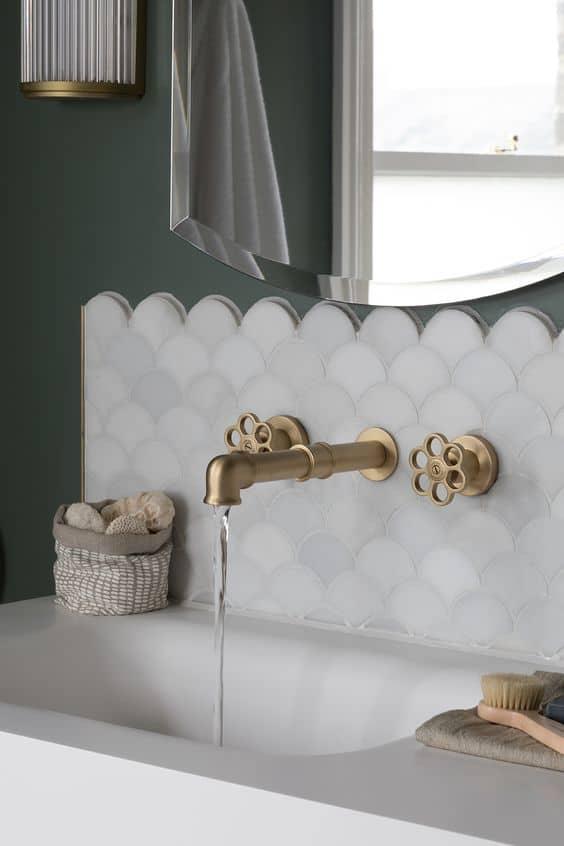 bathroom design ideas gold faucet