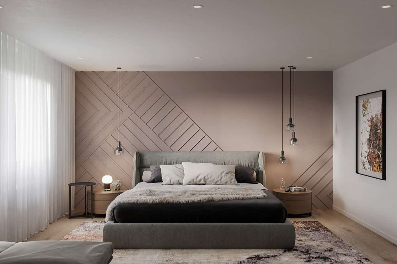 bedroom design 2021 above bed hanging pendants