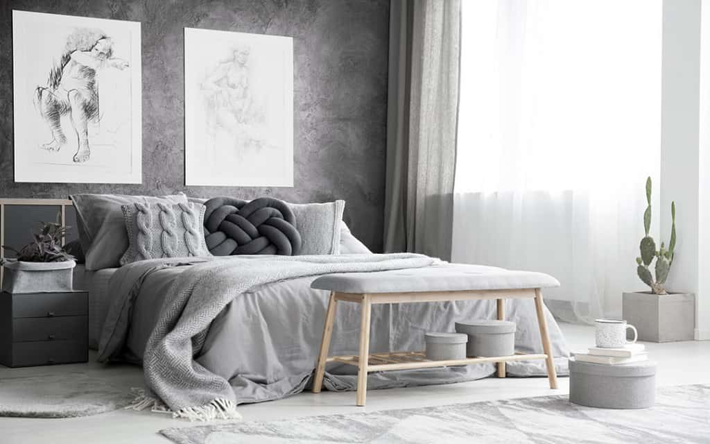 bedroom design 2021 Scandinavian style grey interior