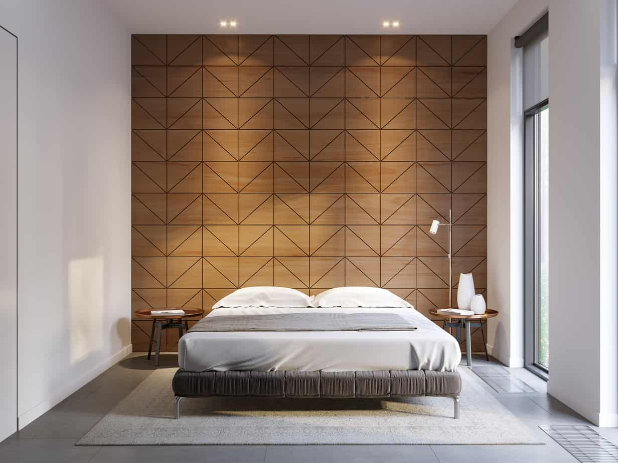 bedroom design trends 2021 wood panel statement wall