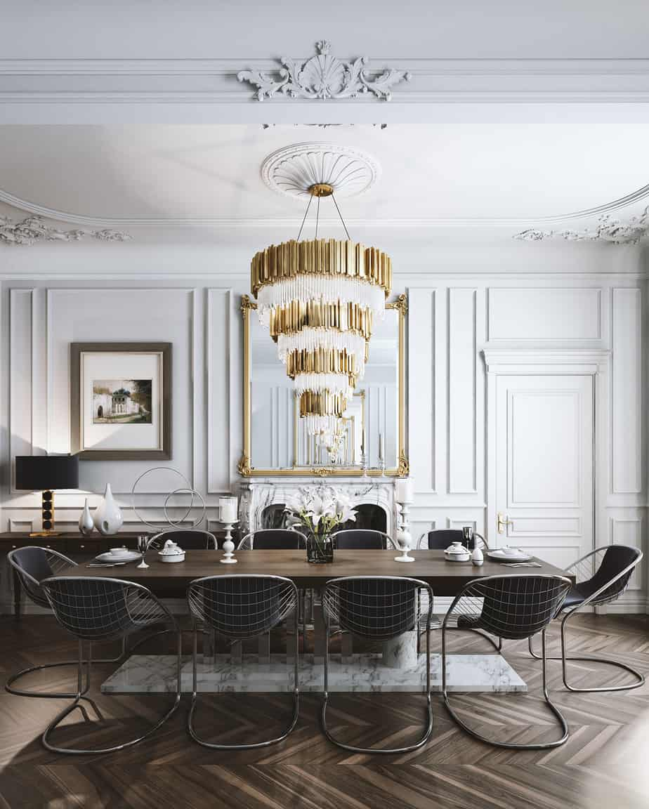 dining room decor trends 2021 fancy golden chandelier