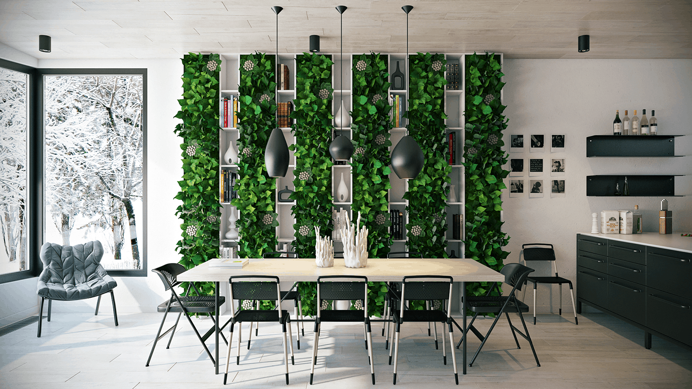 dining room design 2021 natural plants wall