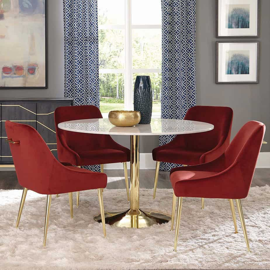 Dining room ideas 2021 red statement velvet chairs
