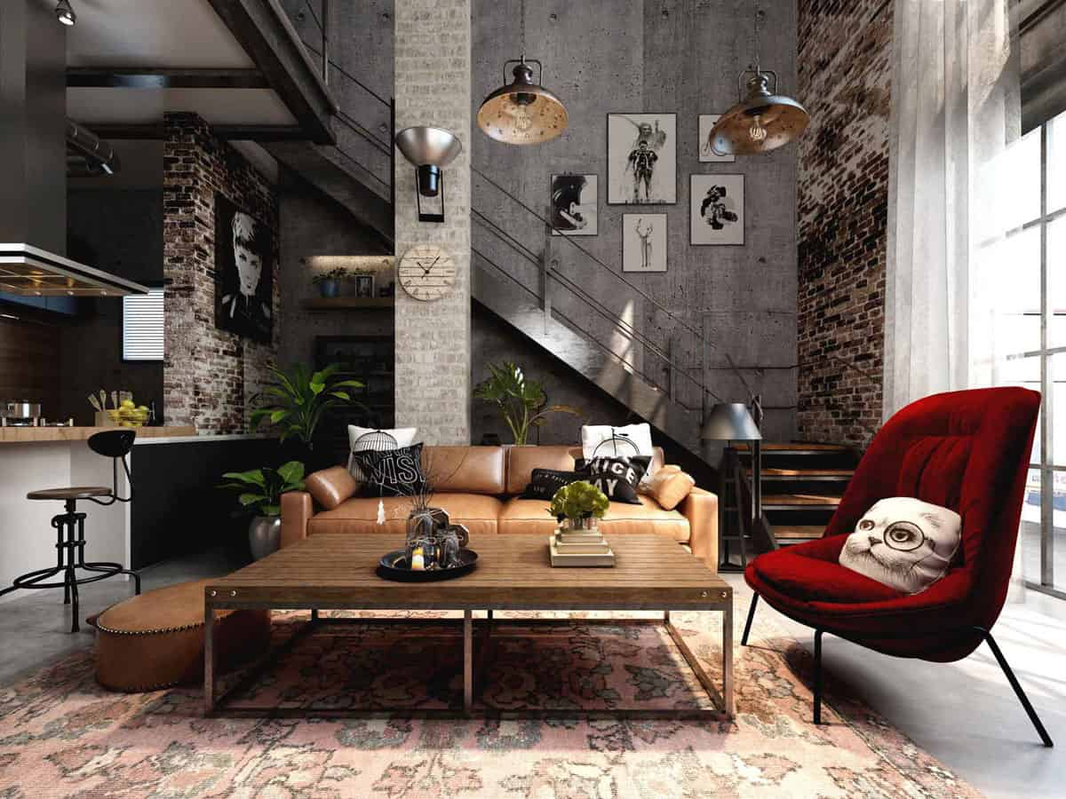 industrial style living room 2021