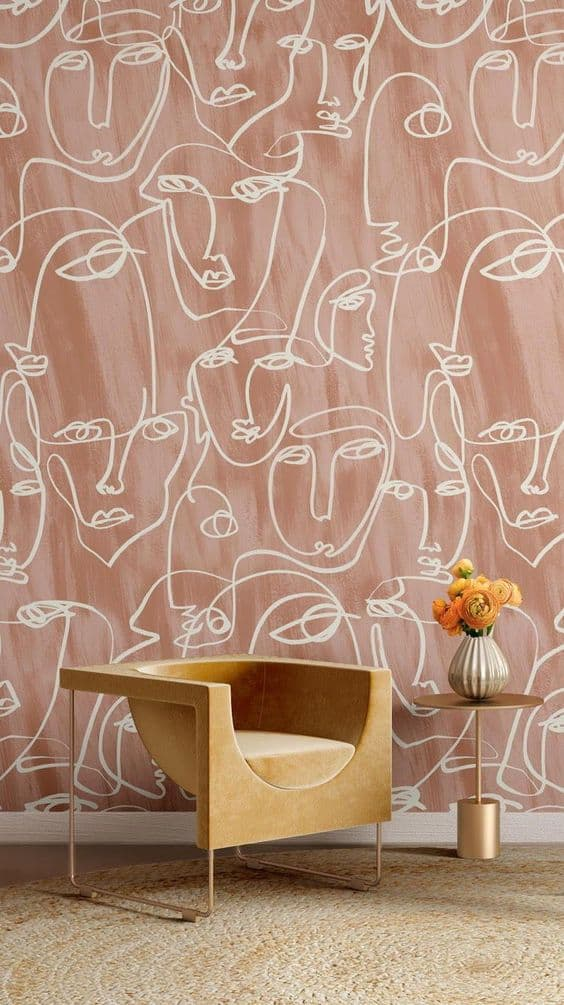 interior design ideas 2021 face line art wallpaper
