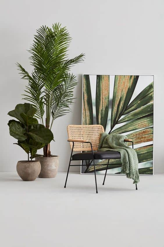 living room decor 2021 plants and natural furniture