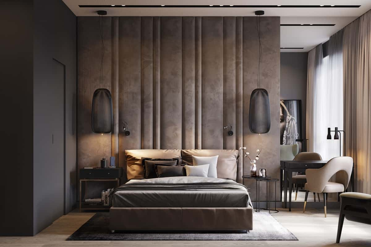 modern bedroom 2021 above bed hanging lights