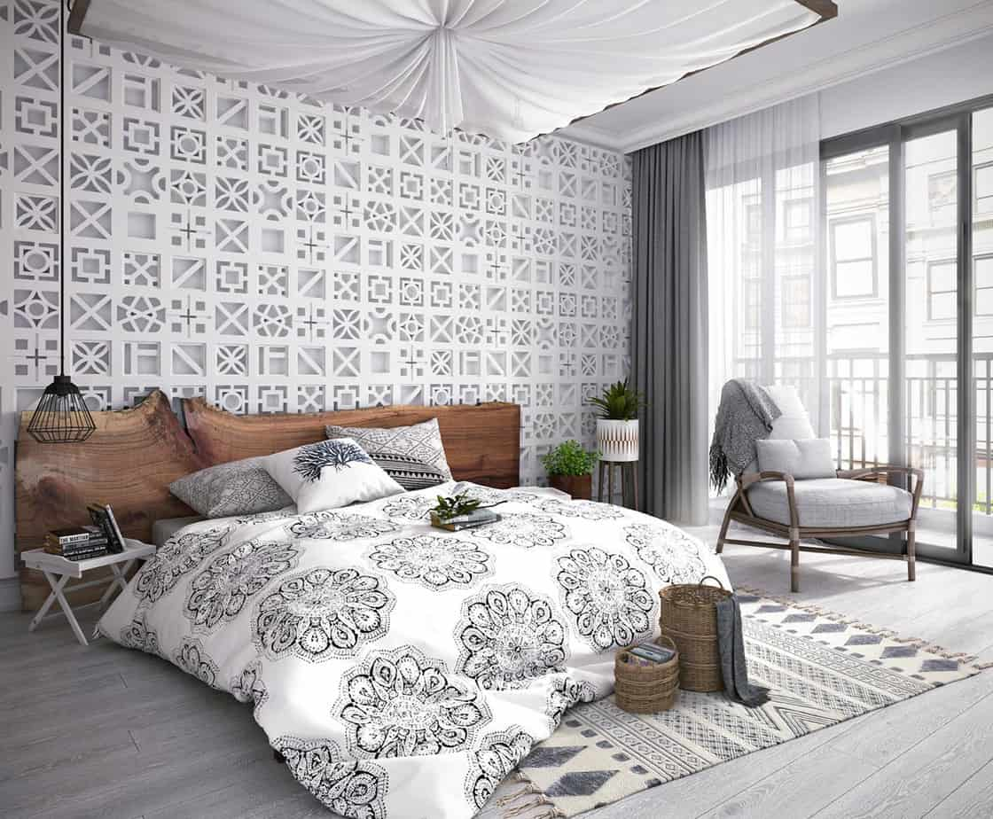 modern bedroom design 2021 wood headboard trend