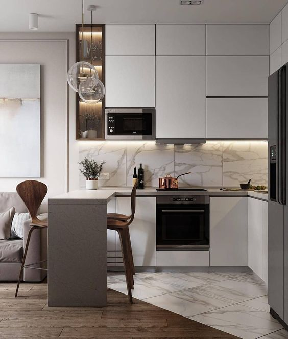 Neutral colors for small kitchen design 2021