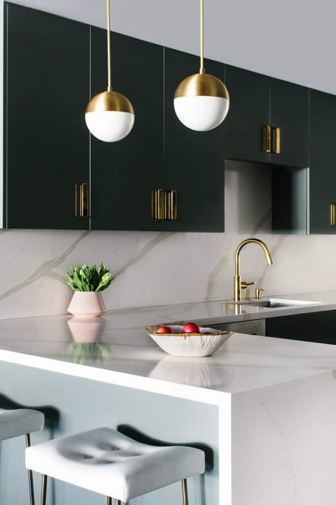 small kitchen design trends 2021 soft gold accents