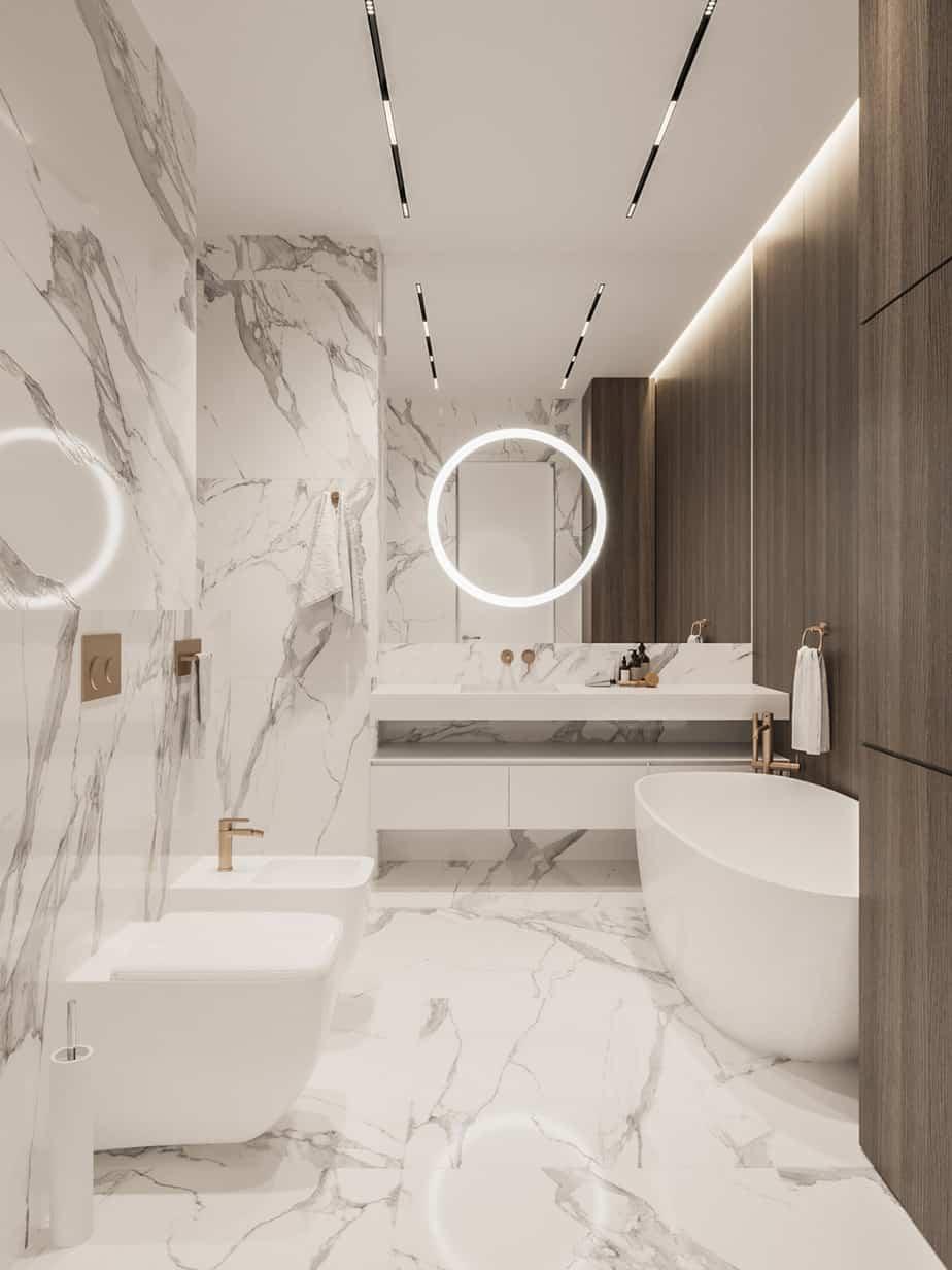 white marble bathroom design 2021