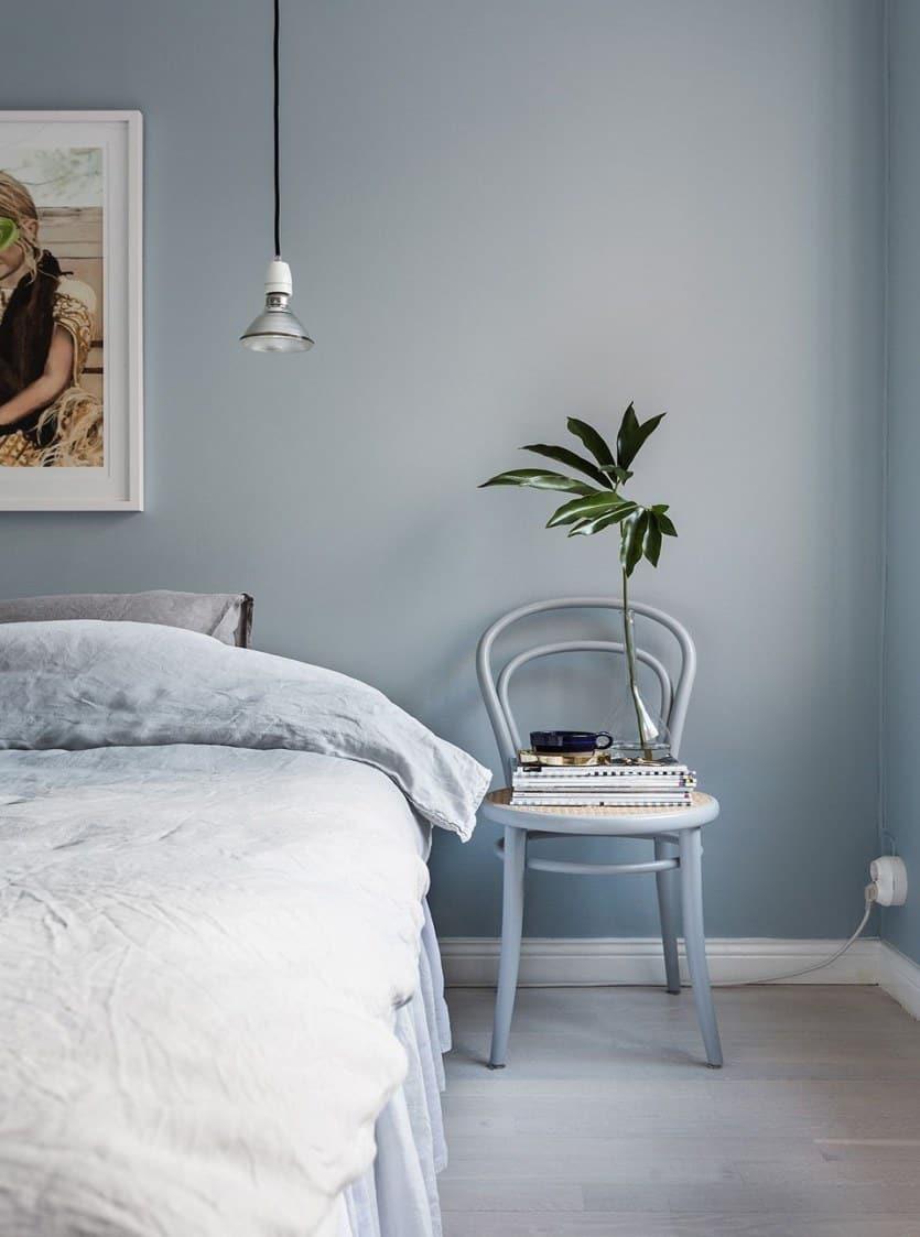 popular bedroom colors 2021 blue grey Scandinavian style bedroom interior