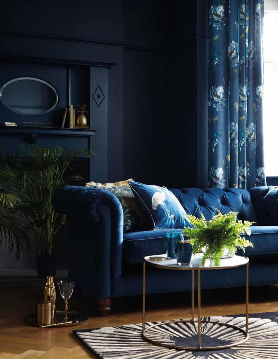 best interior color trends 2021 navy blue velvet couch