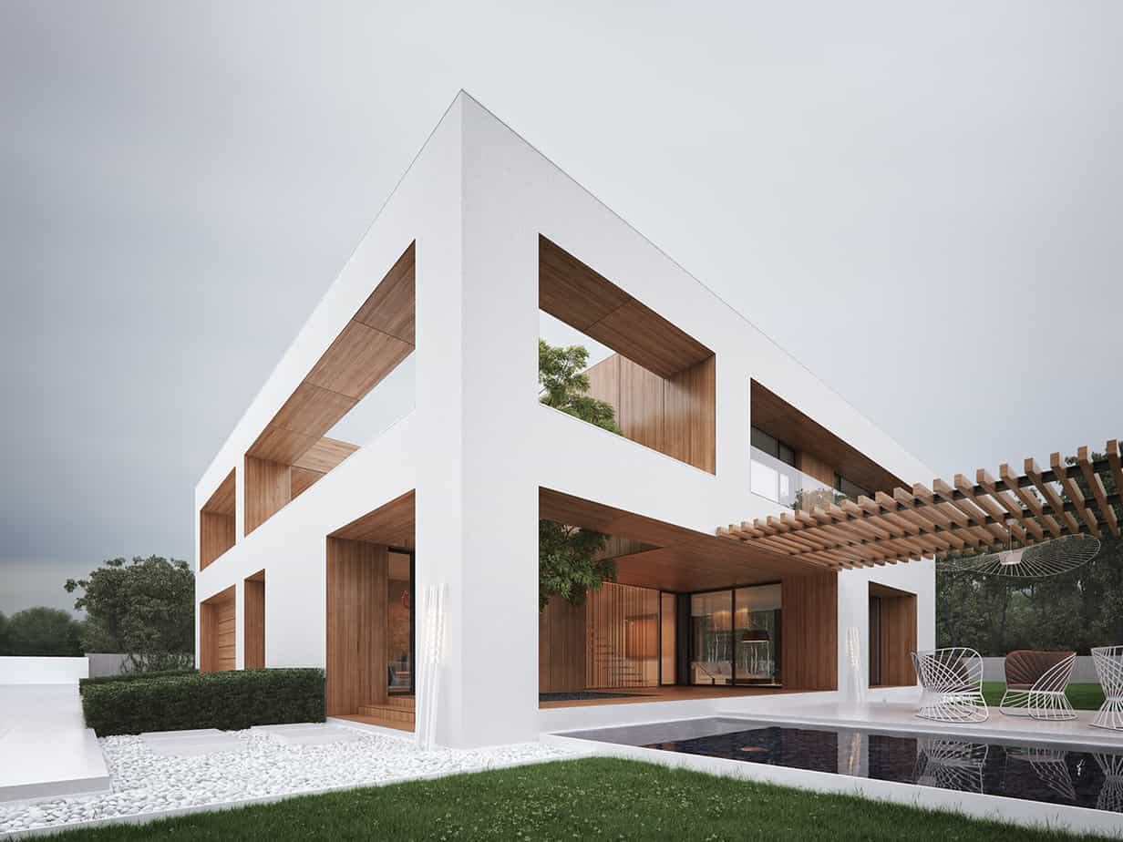Popular Exterior color trends 2021 all white ultra modern house design