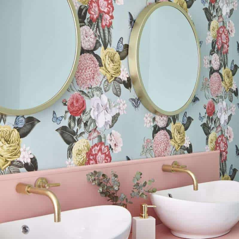 floral pattern wallpaper 2021 bathroom wallpaper