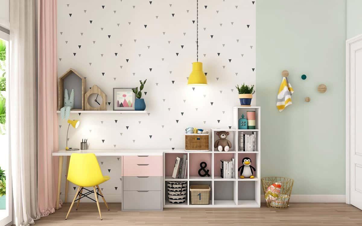 girls room geometric wallpaper 2021