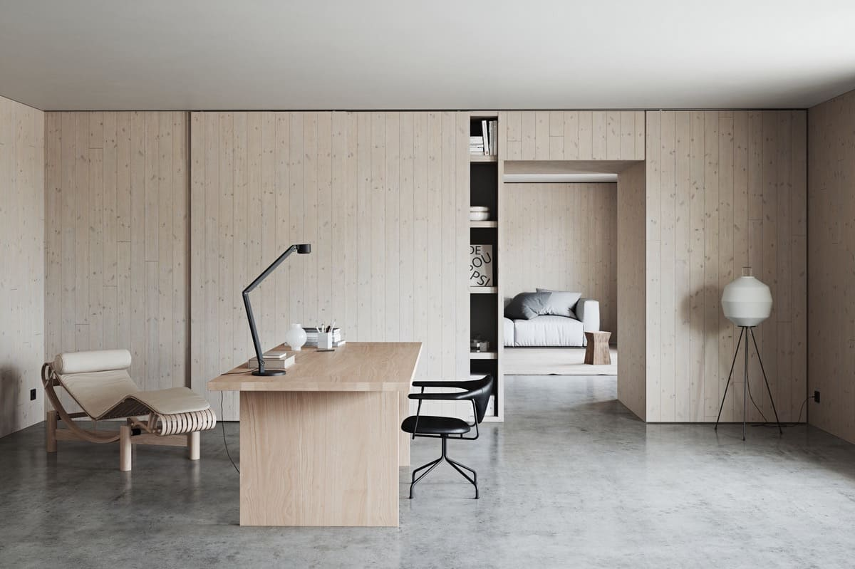 home office 2021 minimal style ultra modern neutral interior