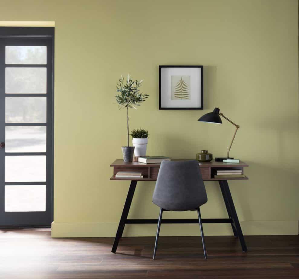 home office design 2021 sage green