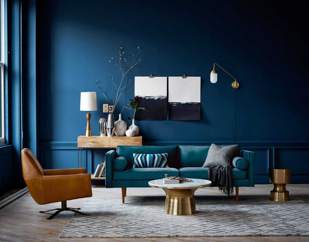interior color trends 2021 navy blue living room design