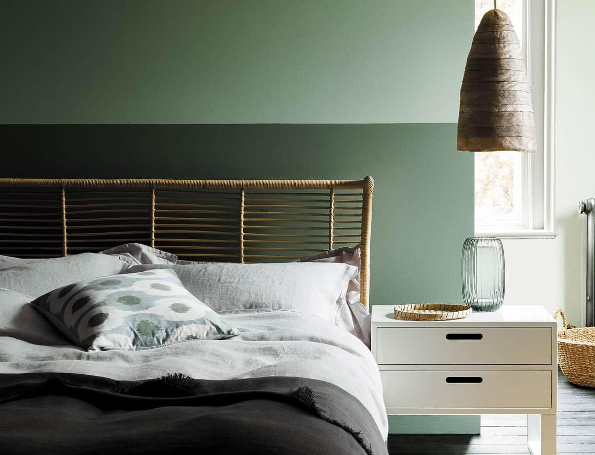 interior color trends 2021 sage green Scandinavian style bedroom design