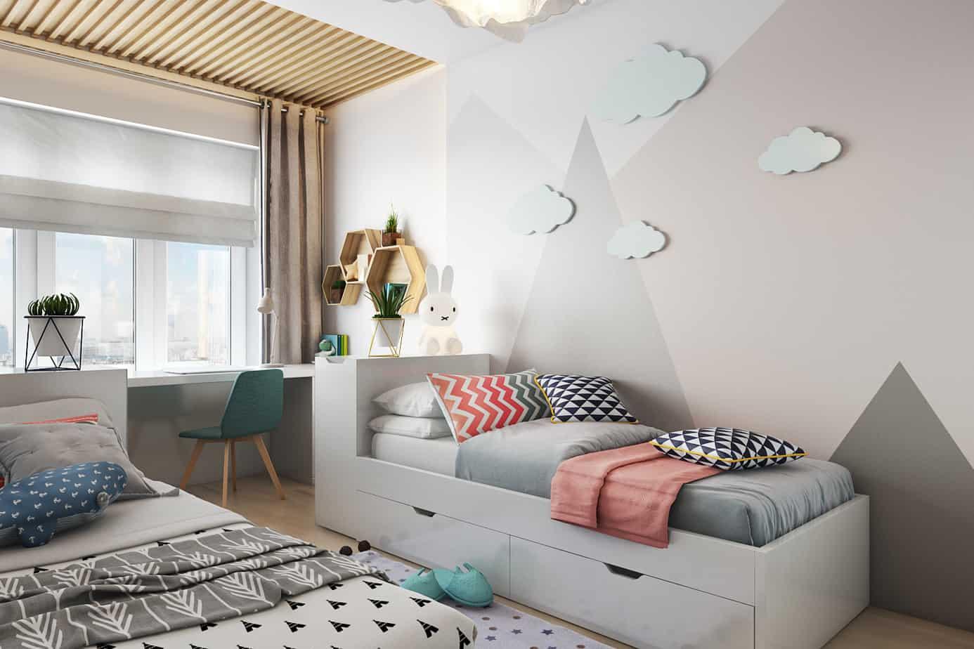kids room interior 2021 pastel colors