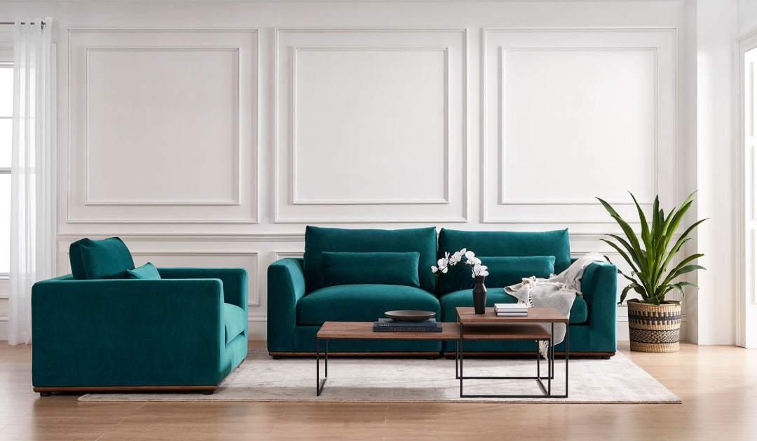 living room furniture 2021 velvet blue green couch