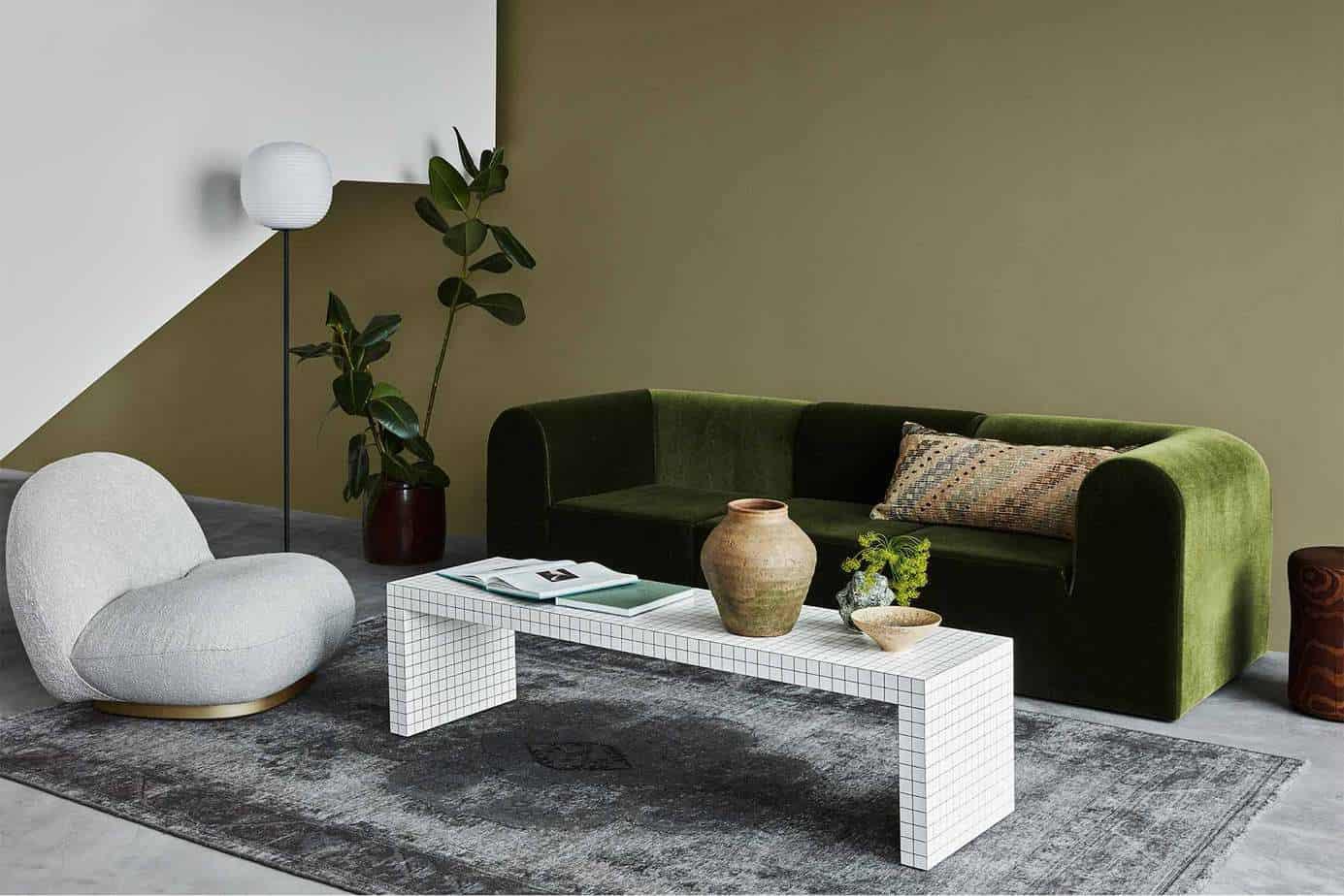 modern interior color trends 2021 light olive green living room