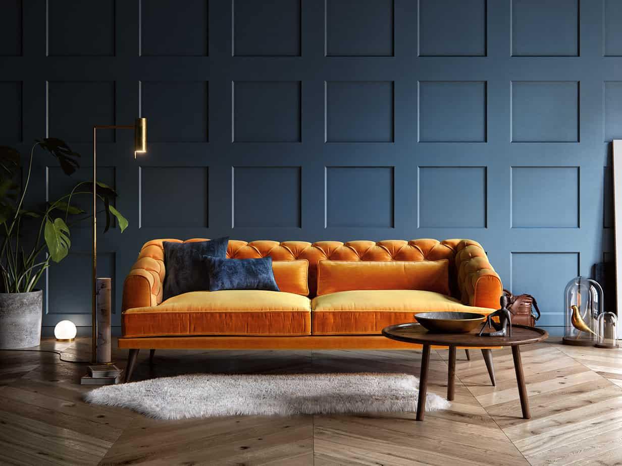 modern living room furniture trends 2021 mustard yellow velvet couch sofa