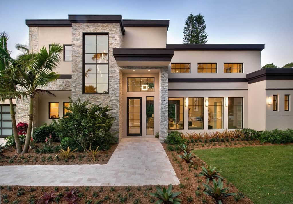 Neutral Exterior Paint Trends 2021 beige taupe modern luxury house