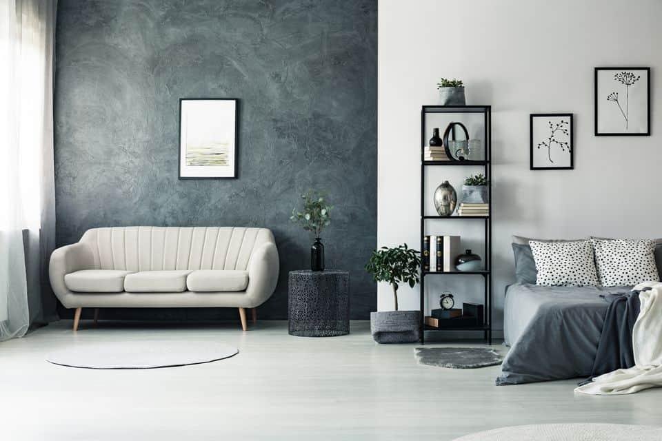 popular colors 2021 blue grey living room interior