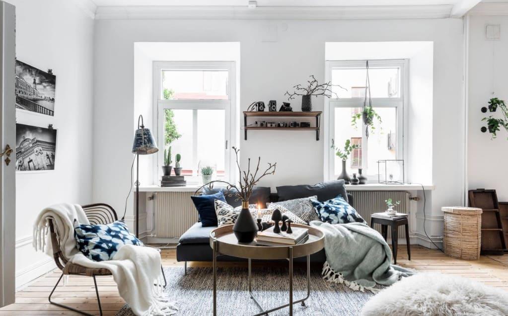 popular home decor ideas 2021 Scandinavian hygge style decor in living room