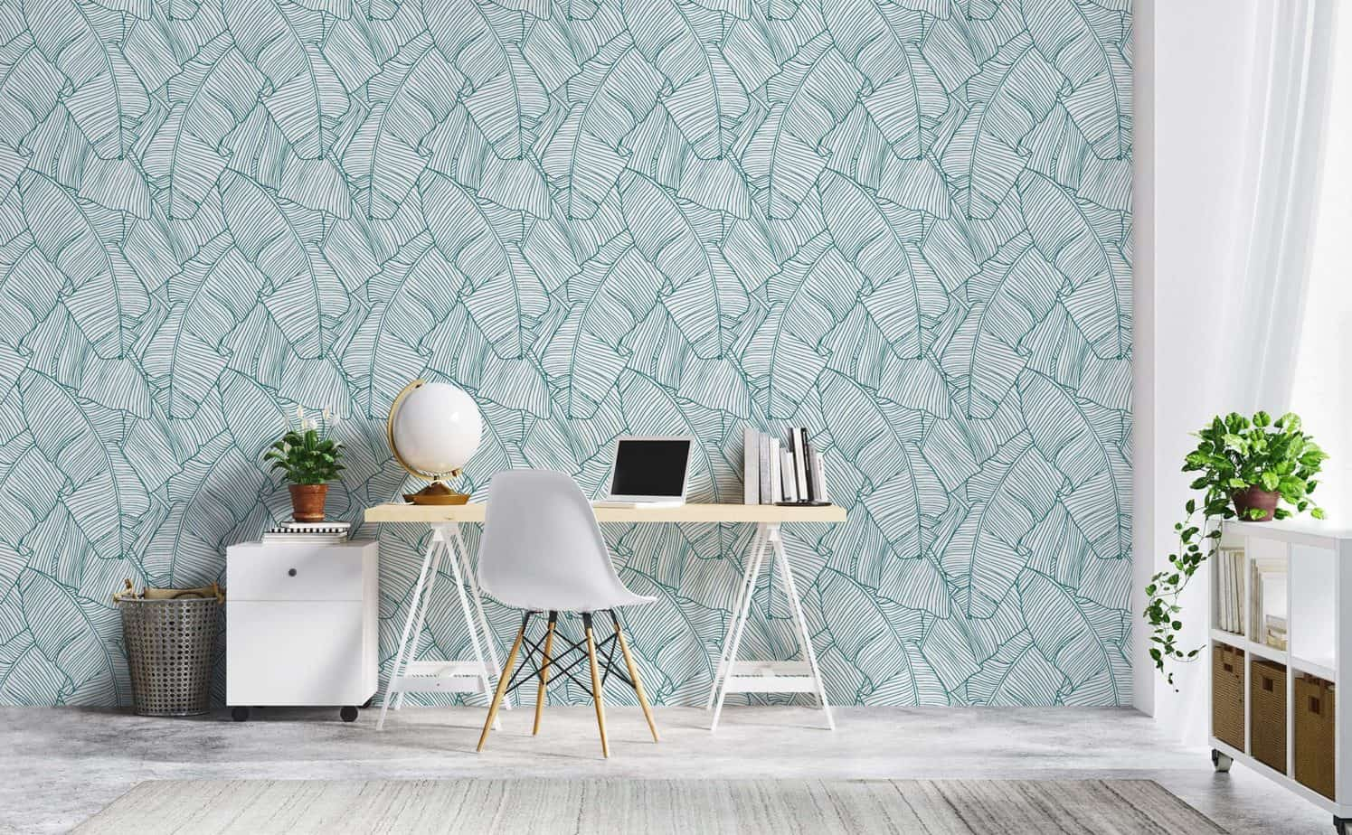 popular home office ideas 2021 accent wallpaper