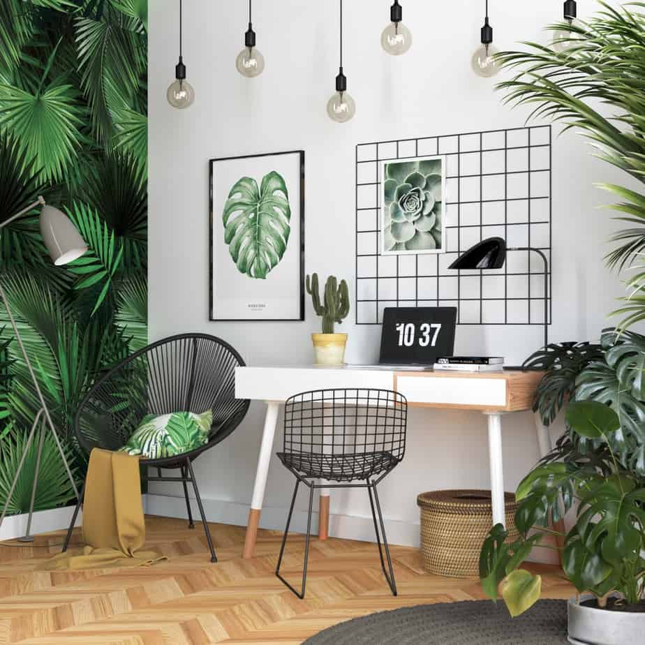popular home office ideas 2021 inclusion of plants and botanical wallpaper