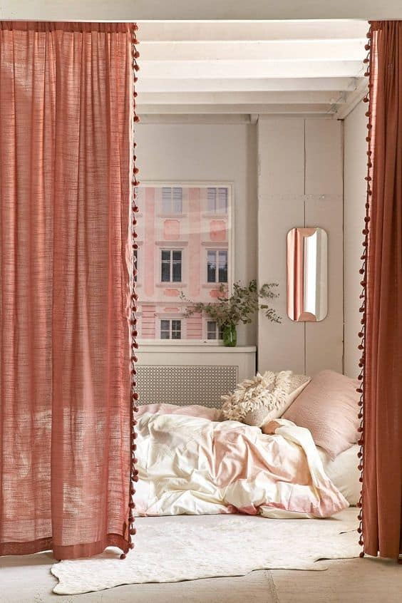 popular modern curtains 2021 coral linen pom tassel curtains