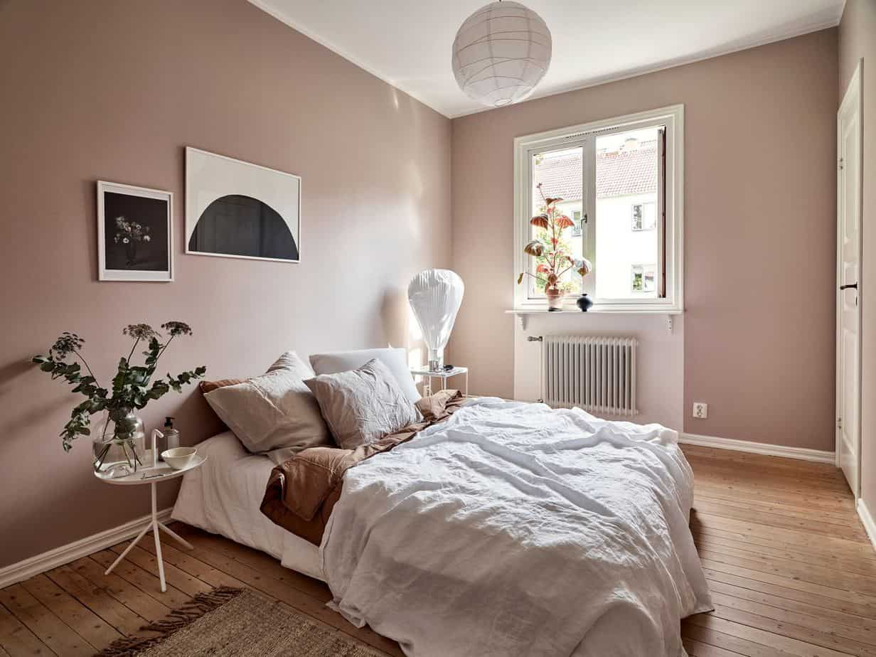 popular paint colors 2021 dusty rose bedroom interior