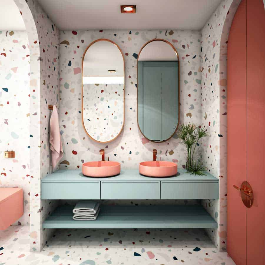 popular wallpaper design 2021 terrazzo wallpaper for bathroom