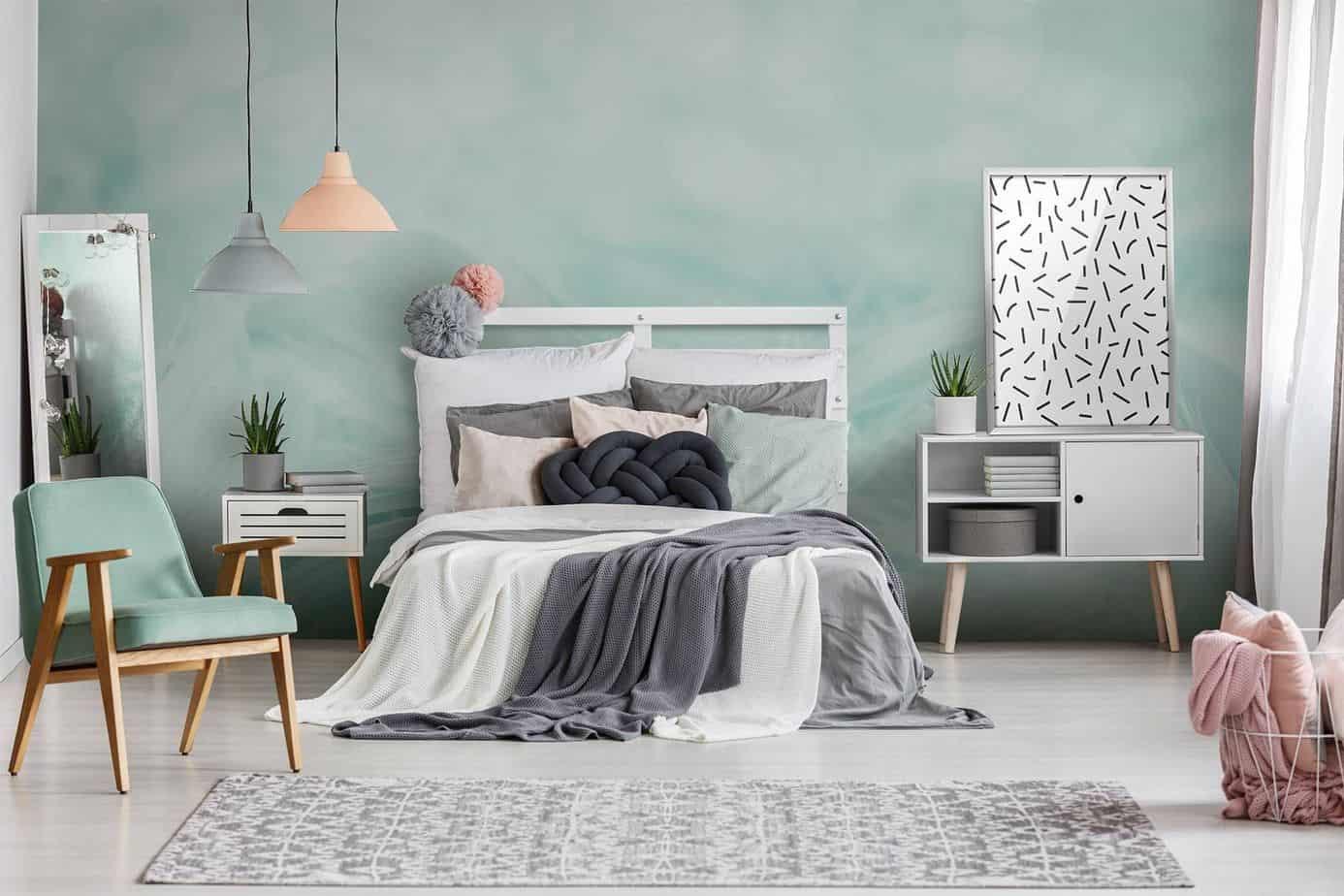 trending bedroom colors 2021 soft pastels green, blue interior