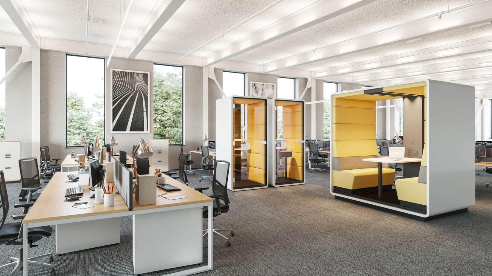 trends in office decor 2021 private booths and cubicles
