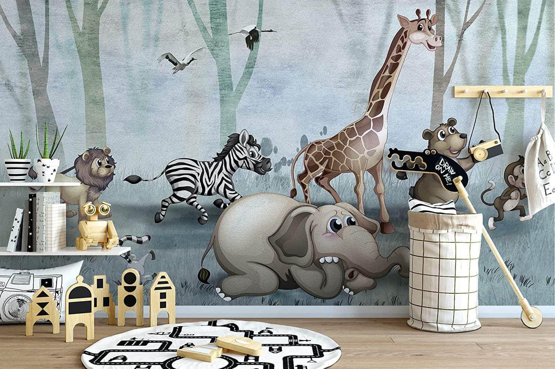 wallpaper for boys bedroom 2021 animal theme print