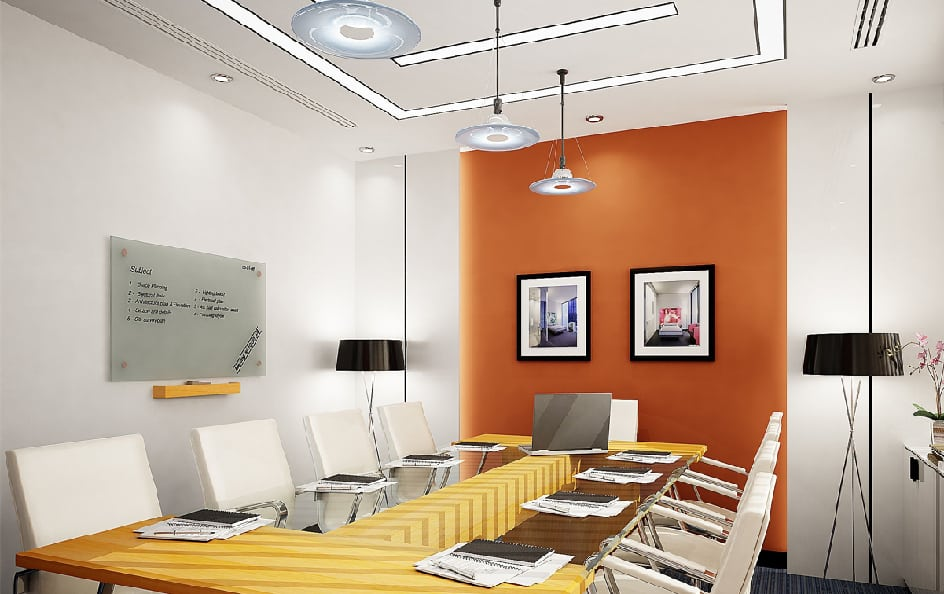 Modern Office Design 2022 With Orange Accents