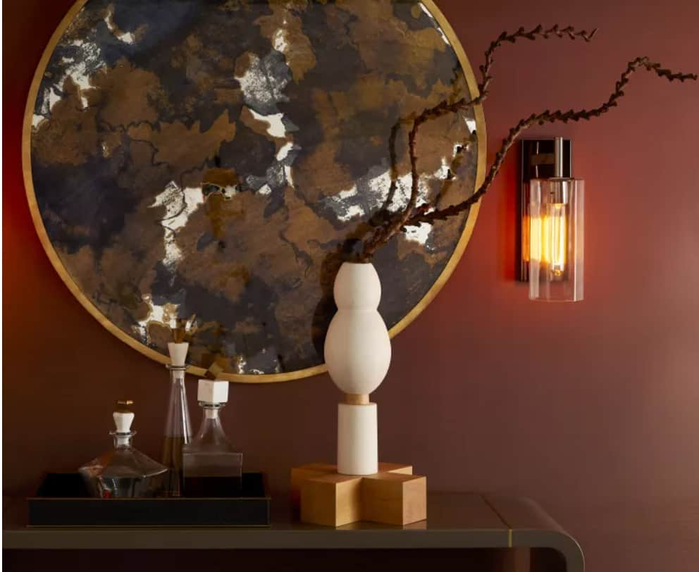 Office Design Ideas 2022: Flower Vase And Textural Panel